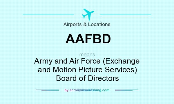 What does AAFBD mean? It stands for Army and Air Force (Exchange and Motion Picture Services) Board of Directors
