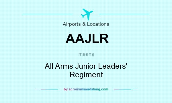 What does AAJLR mean? It stands for All Arms Junior Leaders` Regiment