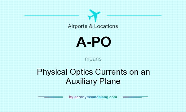 What does A-PO mean? It stands for Physical Optics Currents on an Auxiliary Plane