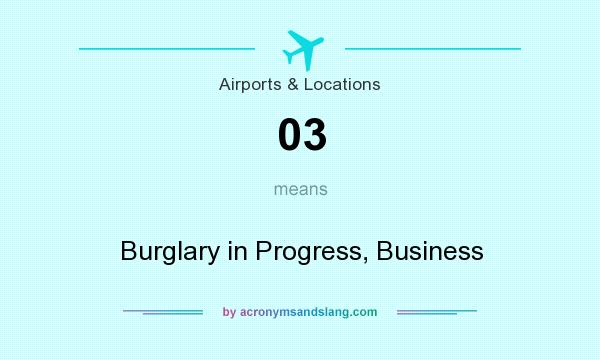 What does 03 mean? It stands for Burglary in Progress, Business