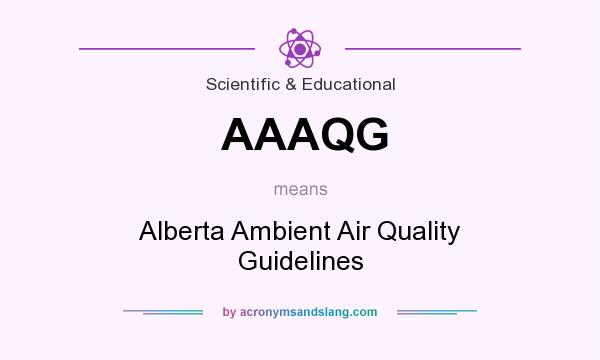 What does AAAQG mean? It stands for Alberta Ambient Air Quality Guidelines