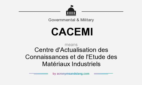 What does CACEMI mean? It stands for Centre d`Actualisation des Connaissances et de l`Etude des Matériaux Industriels