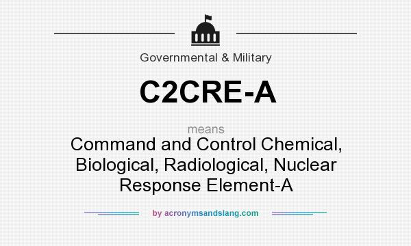 What does C2CRE-A mean? It stands for Command and Control Chemical, Biological, Radiological, Nuclear Response Element-A