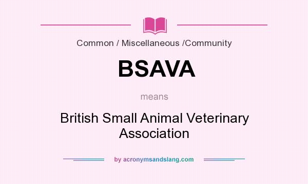 What does BSAVA mean? It stands for British Small Animal Veterinary Association