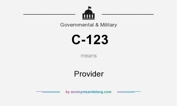What does C-123 mean? It stands for Provider