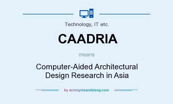 What does CAADRIA mean? It stands for Computer-Aided Architectural Design Research in Asia