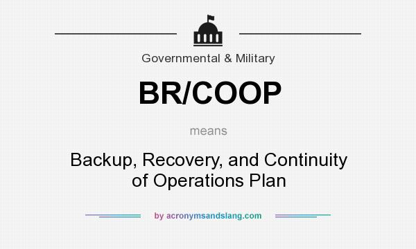 What does BR/COOP mean? It stands for Backup, Recovery, and Continuity of Operations Plan