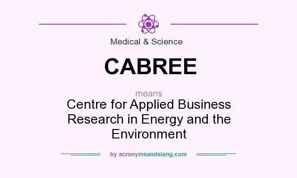 What does CABREE mean? It stands for Centre for Applied Business Research in Energy and the Environment