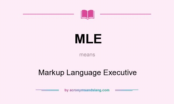 What does MLE mean? It stands for Markup Language Executive