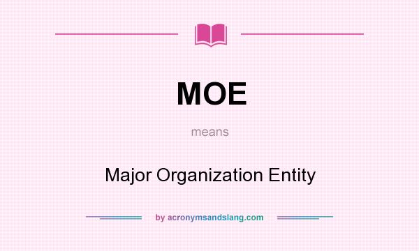 What does MOE mean? It stands for Major Organization Entity