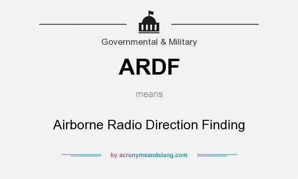 What does ARDF mean? It stands for Airborne Radio Direction Finding