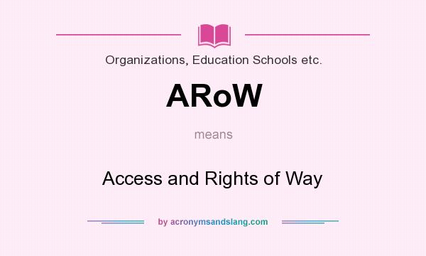 What does ARoW mean? It stands for Access and Rights of Way