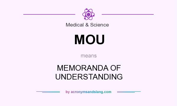 What does MOU mean? It stands for MEMORANDA OF UNDERSTANDING