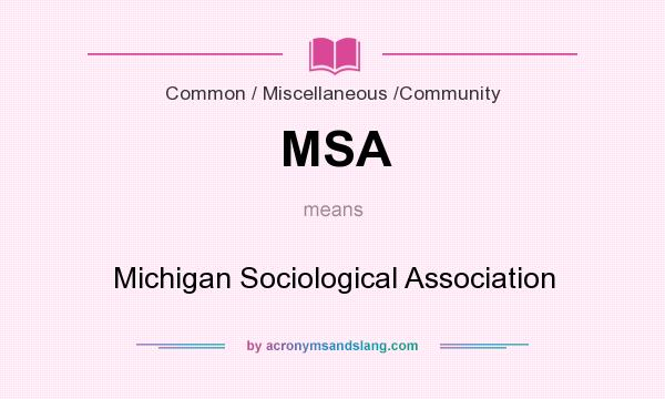 What does MSA mean? It stands for Michigan Sociological Association