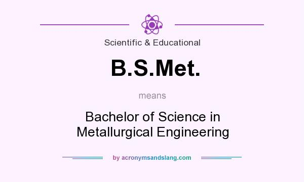 What does B.S.Met. mean? It stands for Bachelor of Science in Metallurgical Engineering