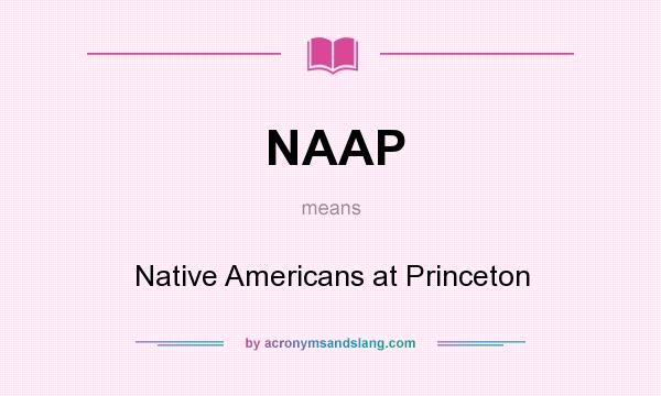 What does NAAP mean? It stands for Native Americans at Princeton