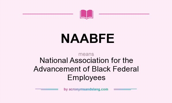 What does NAABFE mean? It stands for National Association for the Advancement of Black Federal Employees