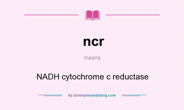 What does ncr mean? It stands for NADH cytochrome c reductase