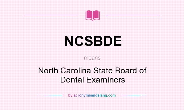 What does NCSBDE mean? - Definition of NCSBDE - NCSBDE