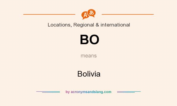 What does BO mean? It stands for Bolivia