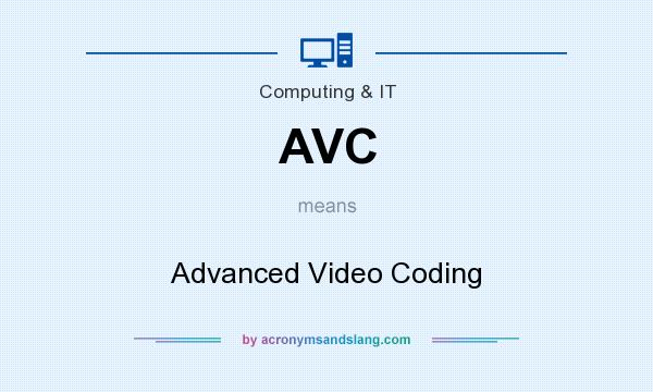 What does AVC mean? It stands for Advanced Video Coding