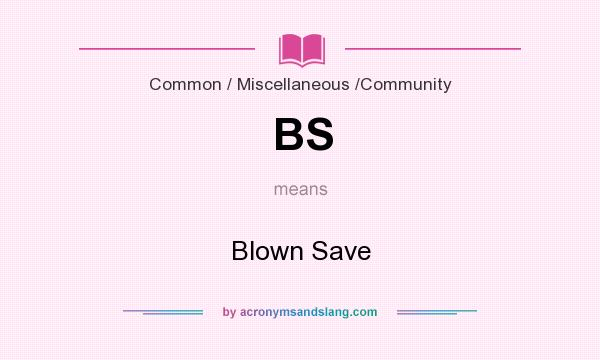 What does BS mean? It stands for Blown Save
