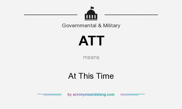 What does ATT mean? It stands for At This Time
