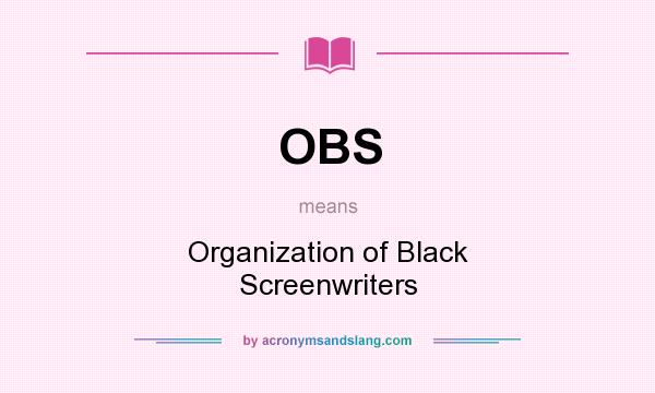 What does OBS mean? It stands for Organization of Black Screenwriters
