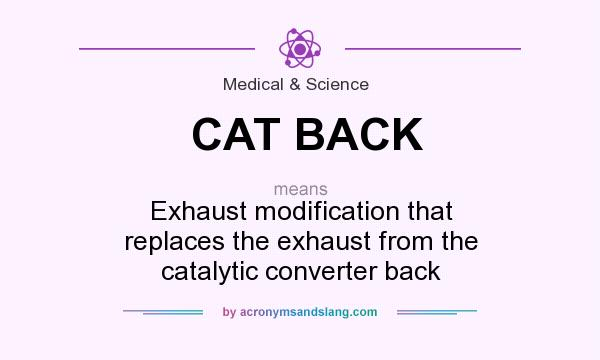 What does CAT BACK mean? It stands for Exhaust modification that replaces the exhaust from the catalytic converter back