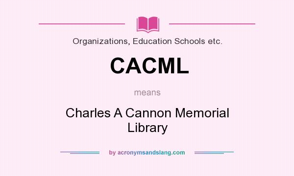 What does CACML mean? It stands for Charles A Cannon Memorial Library