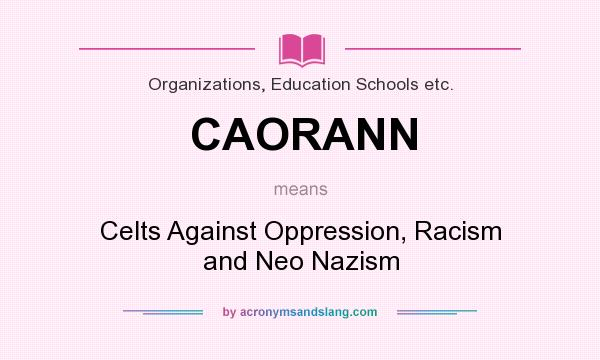 What does CAORANN mean? It stands for Celts Against Oppression, Racism and Neo Nazism