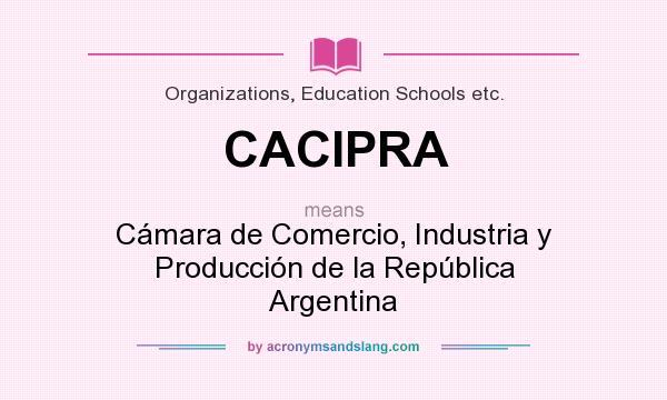 What does CACIPRA mean? It stands for Cámara de Comercio, Industria y Producción de la República Argentina