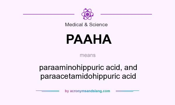 What does PAAHA mean? It stands for paraaminohippuric acid, and paraacetamidohippuric acid