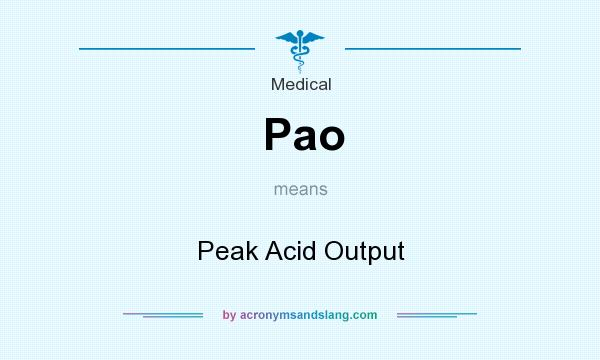 What does Pao mean? It stands for Peak Acid Output