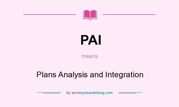 What does PAI mean? It stands for Plans Analysis and Integration