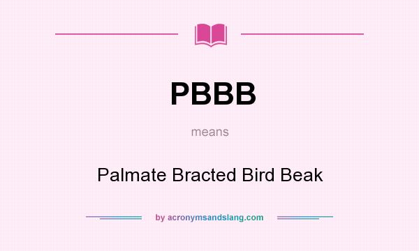 What does PBBB mean? It stands for Palmate Bracted Bird Beak