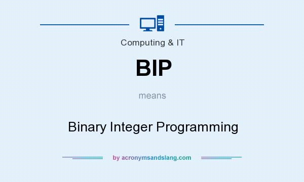What does BIP mean? It stands for Binary Integer Programming