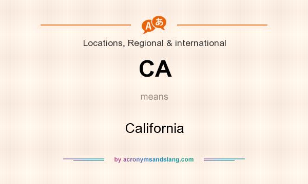 What does CA mean? It stands for California