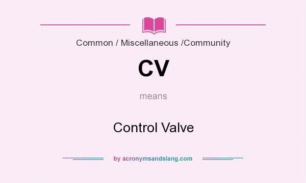What does CV mean? It stands for Control Valve