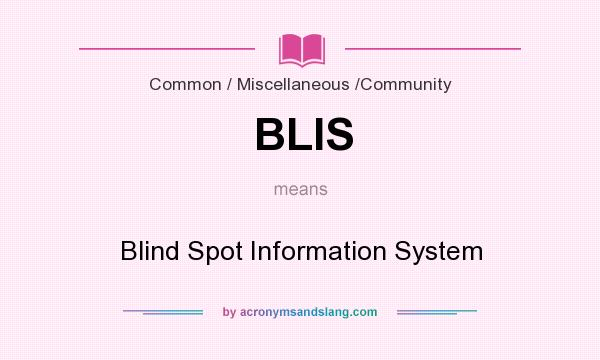 What does BLIS mean? It stands for Blind Spot Information System