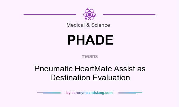 What does PHADE mean? It stands for Pneumatic HeartMate Assist as Destination Evaluation