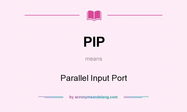 What does PIP mean? It stands for Parallel Input Port