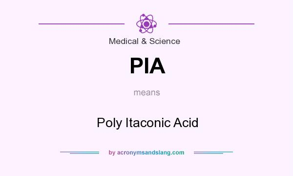 What does PIA mean? It stands for Poly Itaconic Acid
