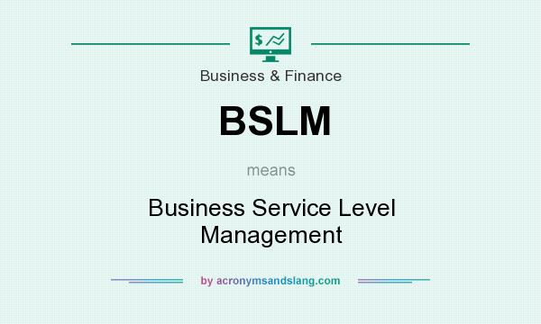What does BSLM mean? It stands for Business Service Level Management