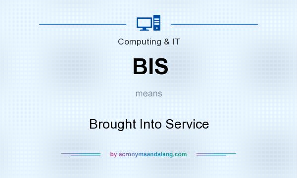 What does BIS mean? It stands for Brought Into Service