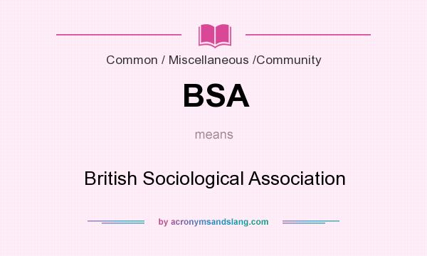What does BSA mean? It stands for British Sociological Association