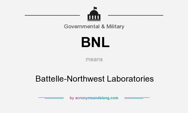 What does BNL mean? It stands for Battelle-Northwest Laboratories