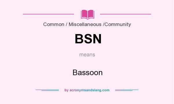 What does BSN mean? It stands for Bassoon