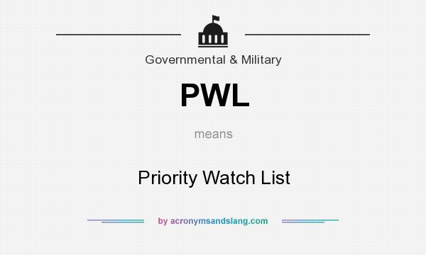 What does PWL mean? It stands for Priority Watch List