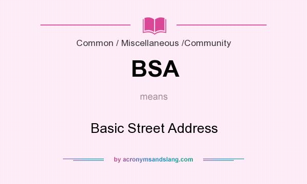 What does BSA mean? It stands for Basic Street Address